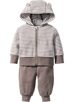 Gilet sweat bébé + pantalon sweat (Ens. 2 pces.) en coton bio, bpc bonprix collection, blanc/taupe