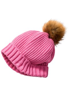 Bonnet en maille avec pompon, bpc bonprix collection, rose flamant