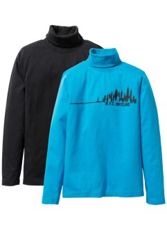 Lot de 2 T-shirts col roulé, bpc bonprix collection, noir/turquoise imprimé