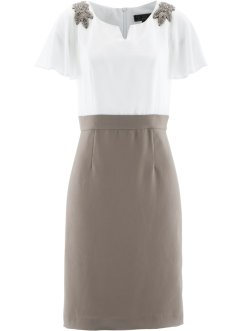 Robe avec application, bpc selection premium, taupe/blanc cassé
