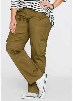 Pantalon cargo, bpc bonprix collection, vert gui