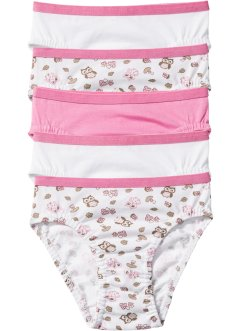 Lot de 5 slips, bpc bonprix collection, rose/blanc