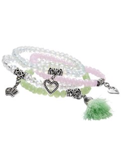 Set de 4 bracelets extensibles, bpc bonprix collection, menthe/rose