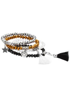 Set de 4 bracelets extensibles, bpc bonprix collection, noir/doré