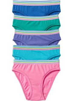 Lot de 5 slips, bpc bonprix collection, émeraude/fuchsia/bleu