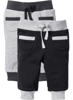 Lot de 2 pantalons sweat bébé coton bio, bpc bonprix collection, noir/gris clair chiné