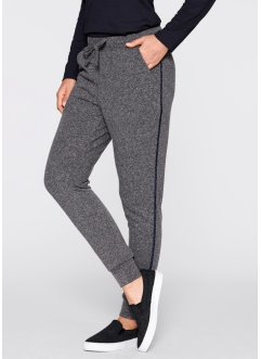 Pantalon sweat - designed by Maite Kelly, bpc bonprix collection, gris chiné/bleu foncé
