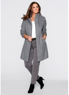 Manteau court blazer, bpc selection, gris chiné