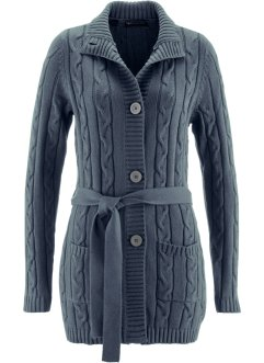 Gilet long en maille, bpc selection, gris chiné