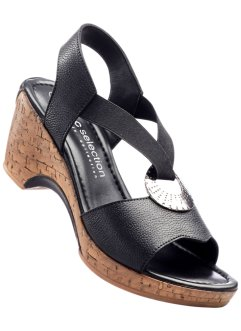 Sandales en cuir, bpc bonprix collection, noir