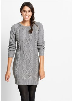 Robe en maille, bpc bonprix collection, gris chiné