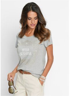 T-shirt, bpc selection, gris clair chiné imprimé