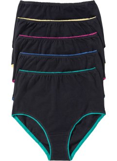Lot de 5 slips taille haute, bpc selection, noir/multicolore