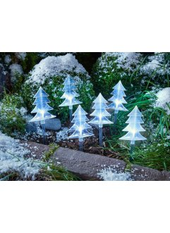 Lot de 6 décorations outdoor à LED Sapins de Noël, bpc living, transparent