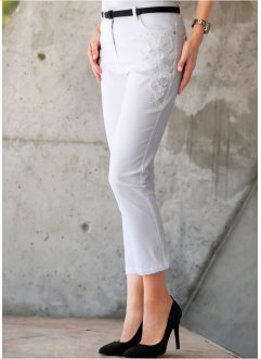 Pantalon extensible 7/8 avec broderie, bpc selection, blanc