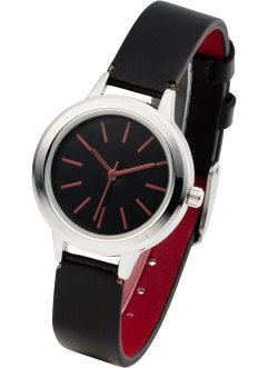 Montre à bracelet en contraste de couleur, bpc bonprix collection, noir/rouge