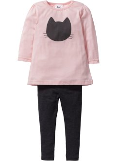 T-shirt long + legging (Ens. 2 pces.), bpc bonprix collection, anthracite chiné/rose bonbon