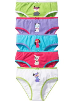 Lot de 5 slips, bpc bonprix collection, fuchsia/violet/vert/turquoise/blanc