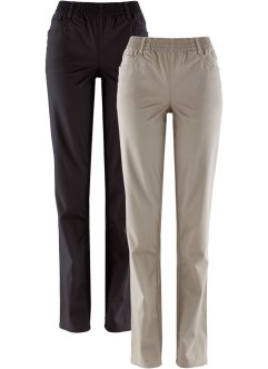 Lot de 2 pantalons extensibles, bpc bonprix collection, taupe+noir