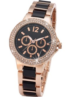 Montre bracelet métal bicolore style chrono, bpc bonprix collection, doré rose/noir