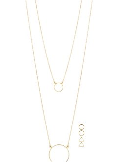 Collier long & boucles d'oreilles (Ens. 5 pces.), bpc bonprix collection, doré