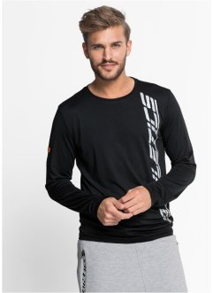 T-shirt fonctionnel à manches longues Slim Fit, RAINBOW, noir