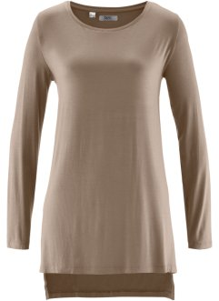 T-shirt long avec fentes, bpc bonprix collection, taupe