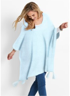 Pull poncho, bpc bonprix collection, menthe polaire chiné