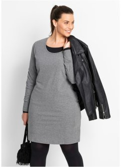 Robe extensible manches longues, bpc bonprix collection, gris chiné