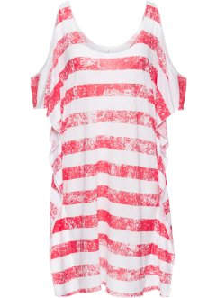 T-shirt de plage, bpc selection, blanc/rouge clair rayé