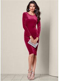 Robe en velours, BODYFLIRT boutique, rouge foncé