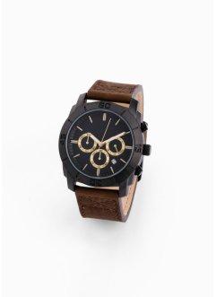 Montre chrono avec bracelet en cuir pour homme, bpc bonprix collection