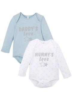 Lot de 2 bodies bébé manches longues coton bio, bpc bonprix collection