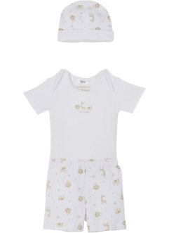 Body bébé + pantalon + bonnet (Ens. 3 pces.) coton bio, bpc bonprix collection