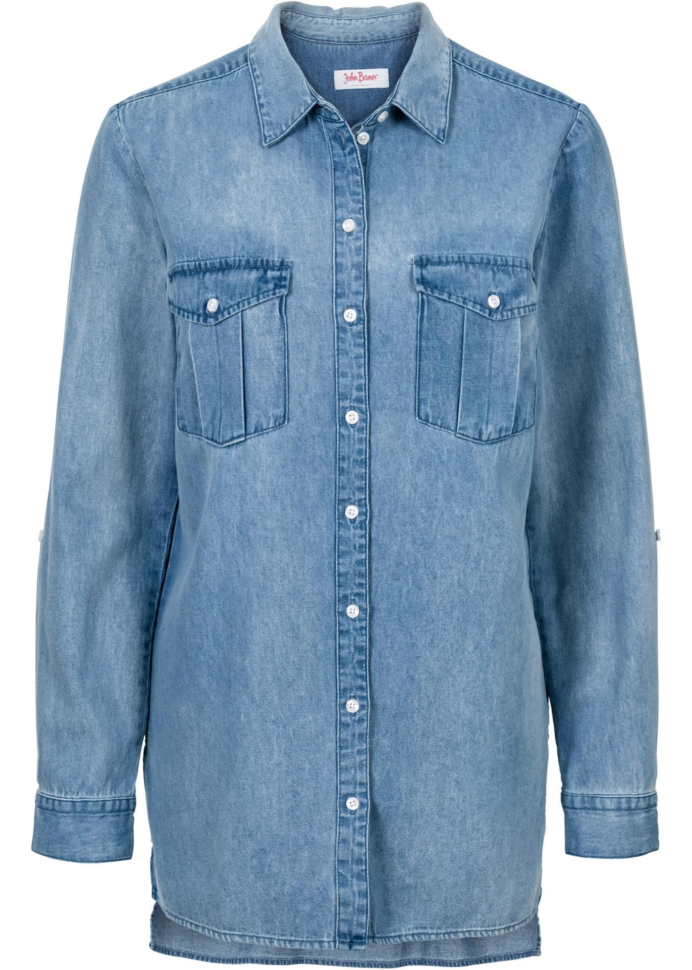 Chemise en jean extra longue, manches longues