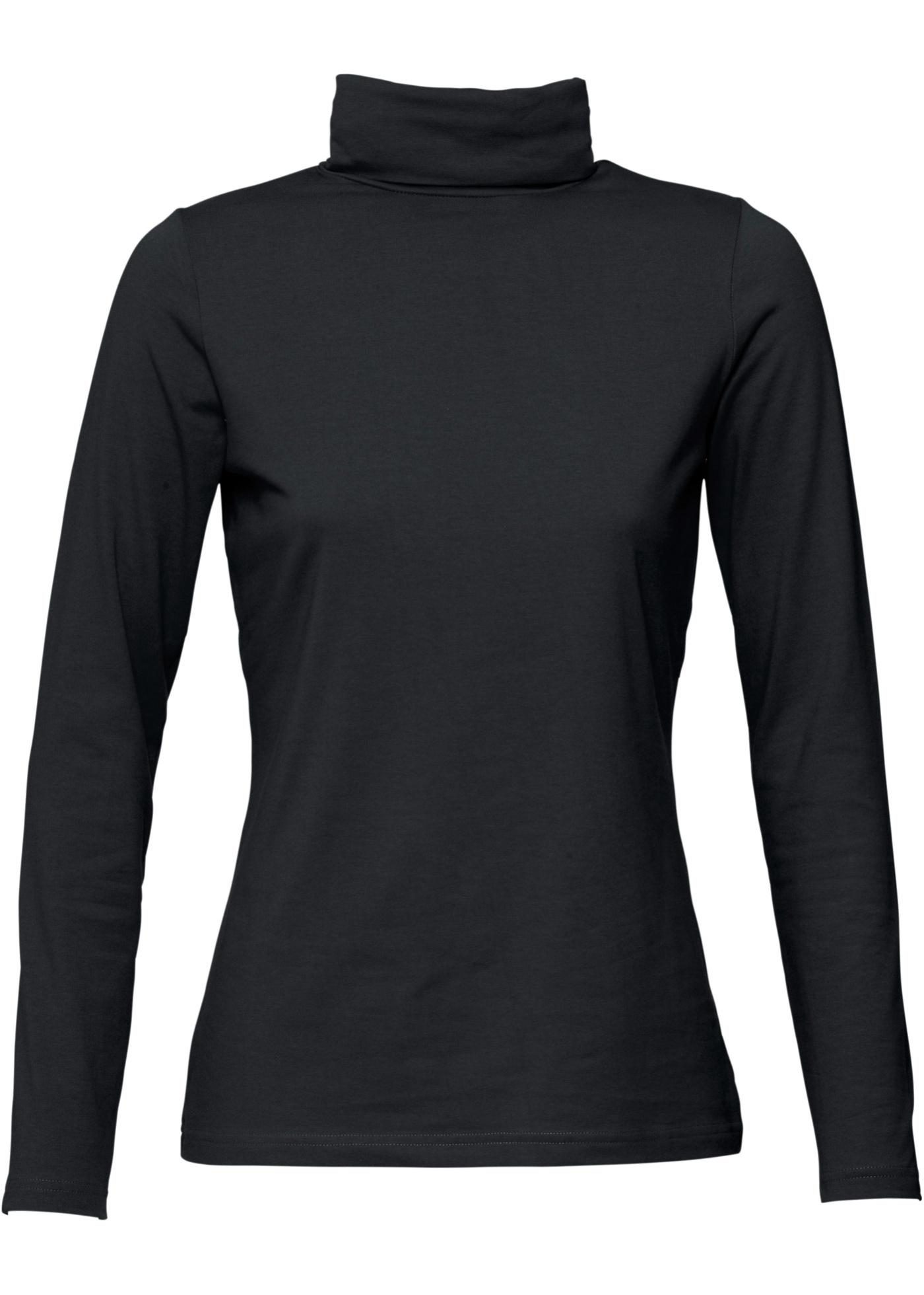 T-shirt col roulé noir manches longues femme -...