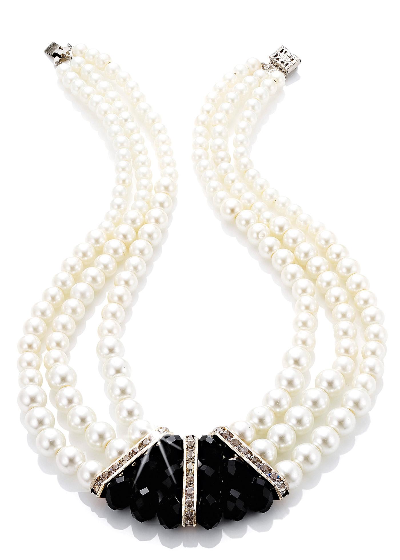 Collier trois rangs avec perles imitation culture et pierres fantaisie, dim. env. 44 x 3 cm.
