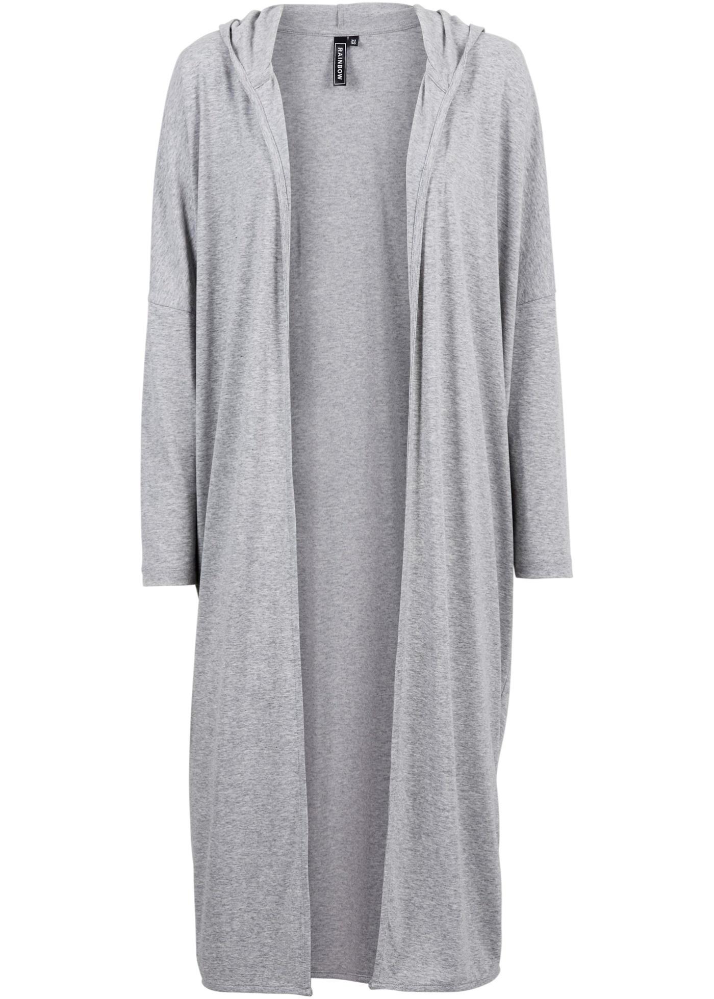 Cardigan long gris manches longues femme - bonprix