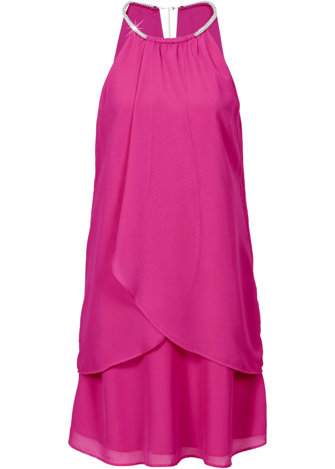 """Magnifique robe en voile de chiffon à encolure ronde rehaussée d""""une application collier. Le détail qui fait tout le charme ! Les petites fronces au décolleté et l""""effet superposé sur le devant mettent en valeur la silhouette et finalisent le lo"""