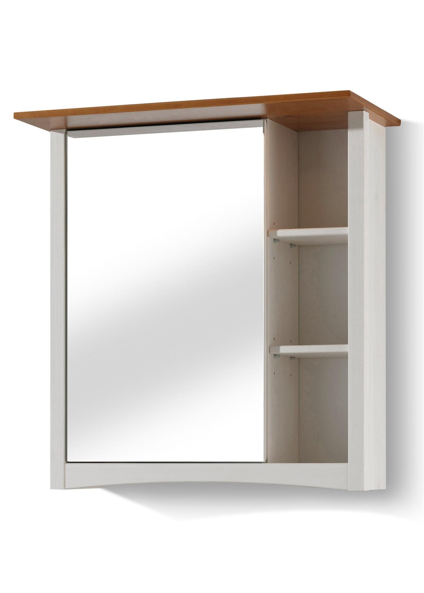 """Armoire de toilette avec 3 compartiments ouverts et 1 tablette variable derrière le miroir. Fabriquée en Europe dans un style scandinave, particulièrement stable et robuste. En planches de bois de 15 mm d""""épaisseur. Le plateau supérieur des meubles d"""