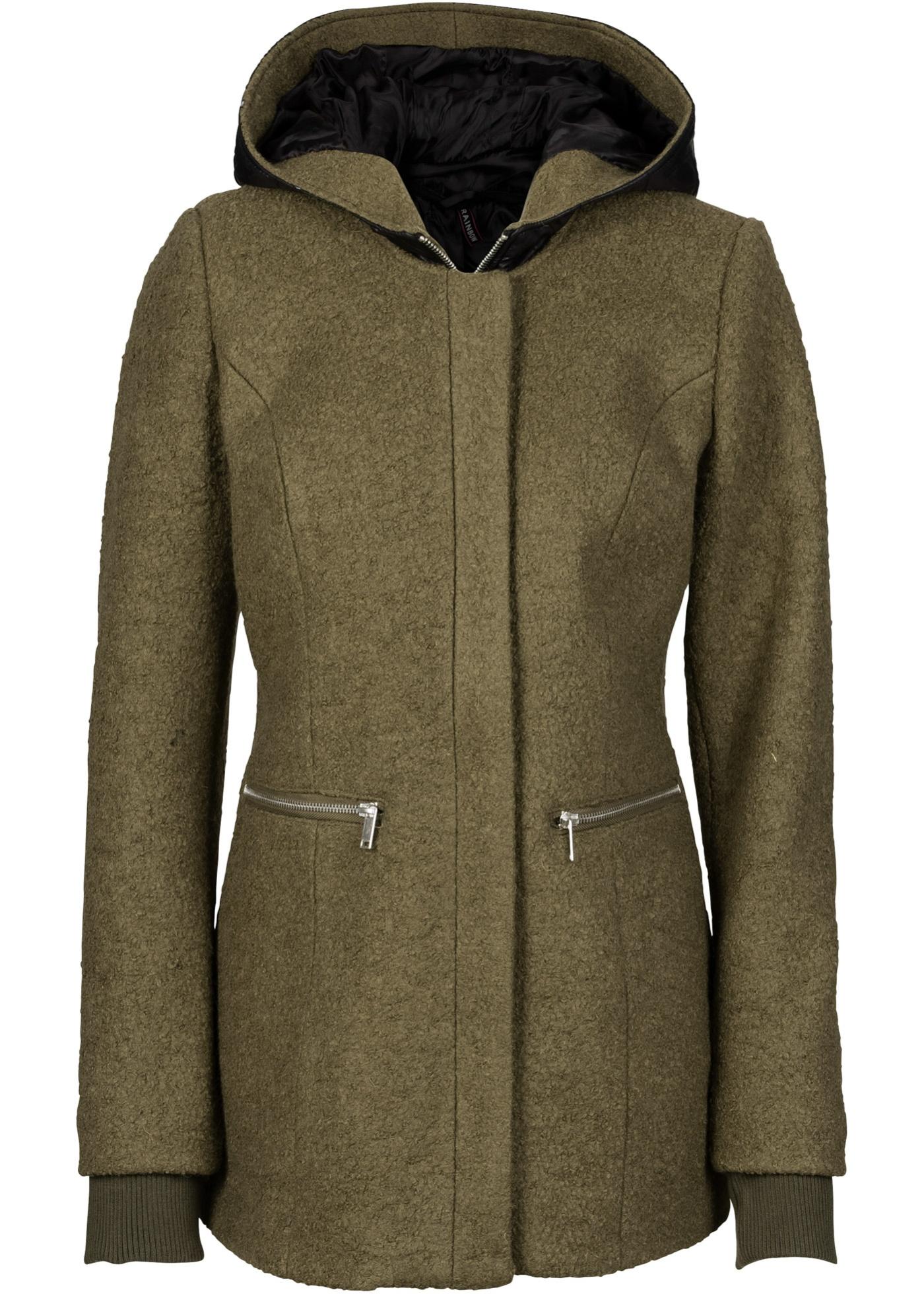 Manteau en laine mélangée vert manches longues...