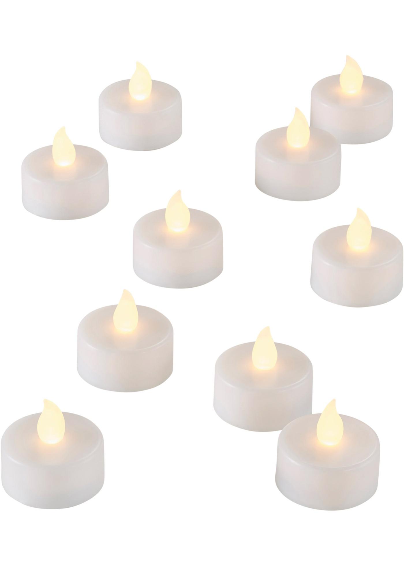 Bougies chauffe-plat LED (Ens. 10 pces.)