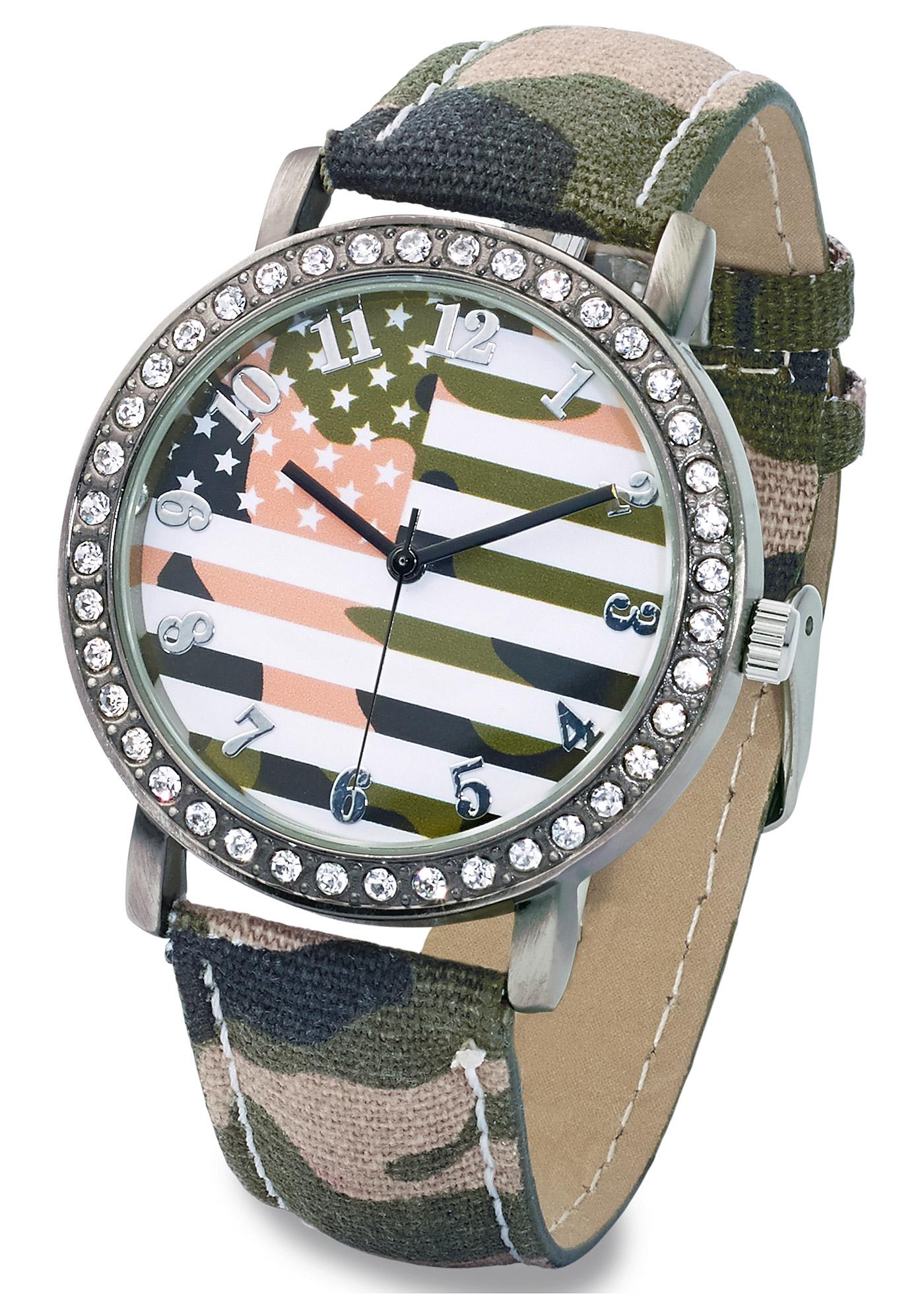 Montre exceptionnelle avec bracelet style militaire tendance et motif drapeau sur le cadran. Les strass sertis sur le contour du boîtier apportent une touche féminine contrastante. Prix comprenant éco-participation (F) =0,01€ ou recupel (B) =0,05€.