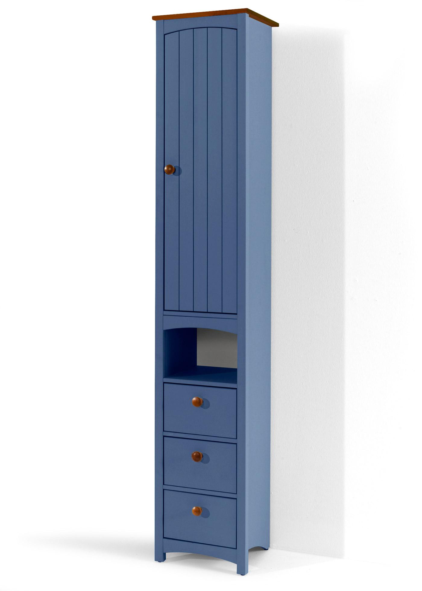 """Colonne étroite avec 1 compartiment ouvert, 1 porte ouvrant sur une tablette variable et 3 tiroirs. Fabriquée en Europe dans un style scandinave, particulièrement stable et robuste. En planches de bois de 15 mm d""""épaisseur. Le plateau supérieur des m"""