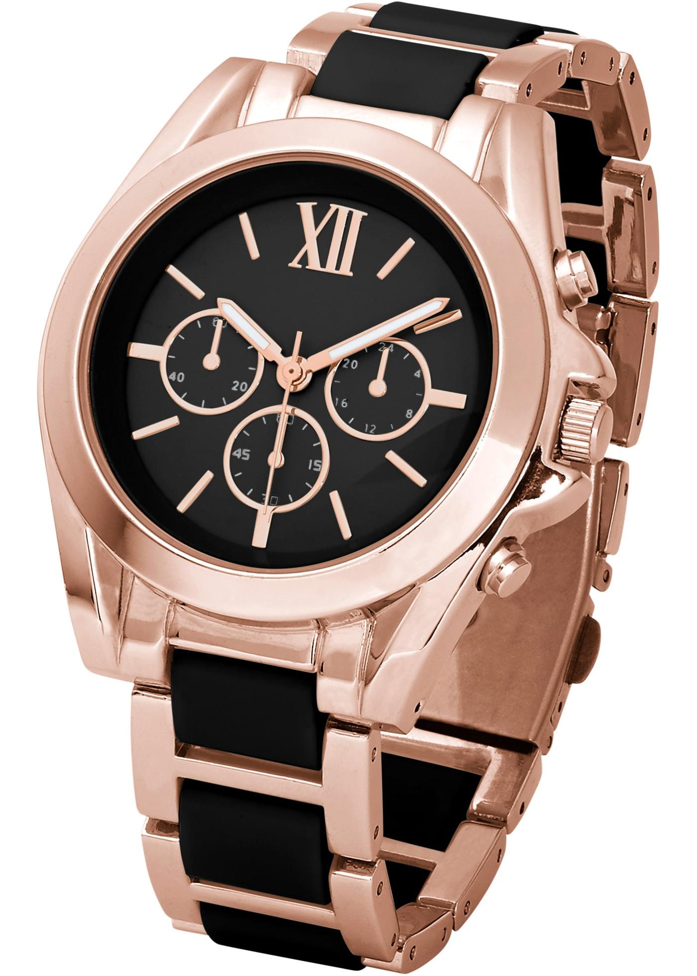 """Montre style chrono avec bracelet en métal. Les inserts en matière synthétique de coloris contrastant lui donnent un look superbe ! Long. maxi env. 22 cm, le bracelet peut être raccourci à l""""aide d""""outils d""""horlogerie (non inclus). Prix com"""
