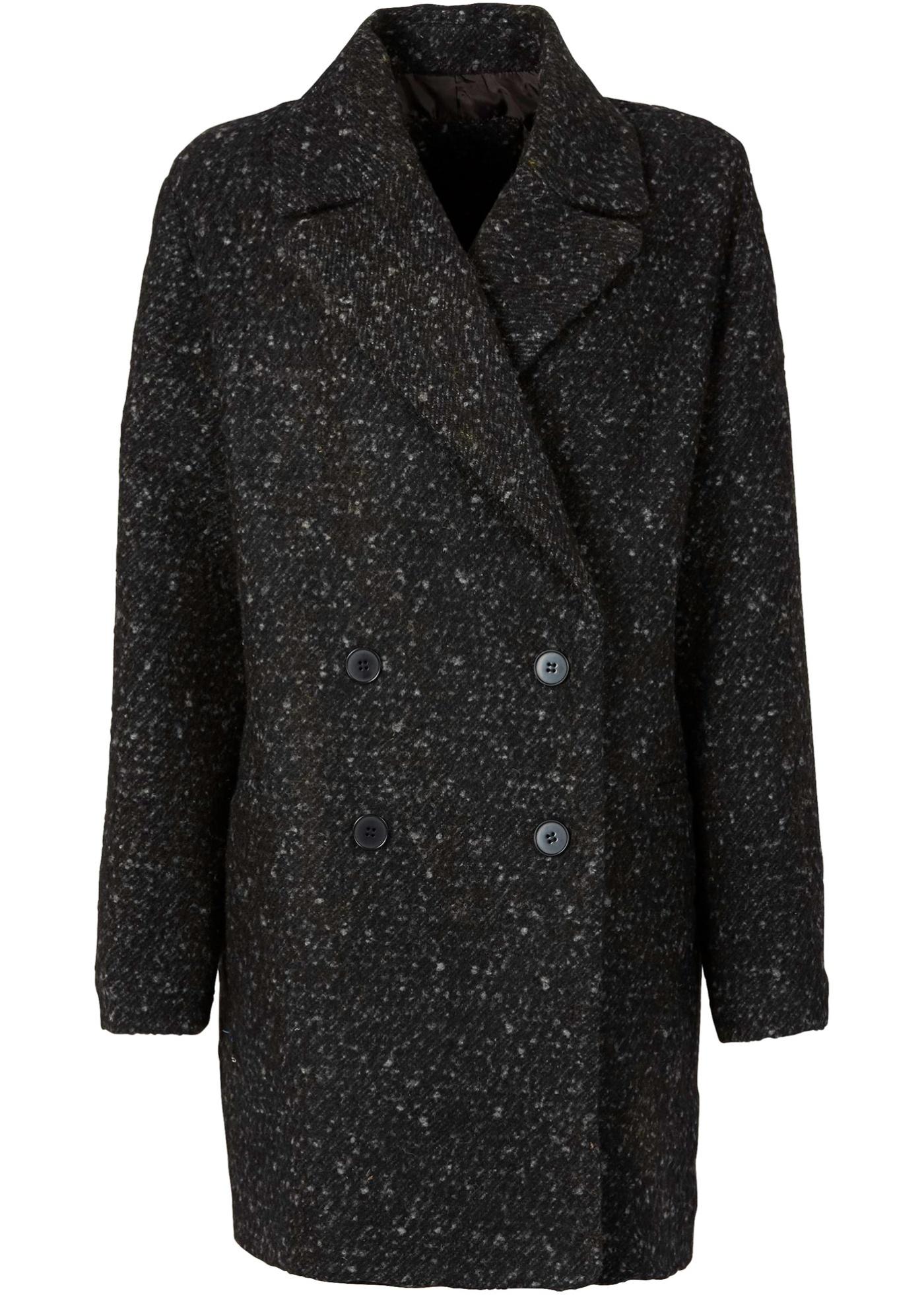Manteau court oversize noir manches longues...