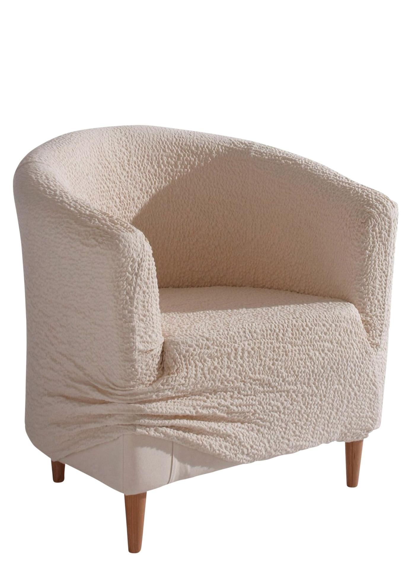 Housse gaufrée extensible disponible pour fauteuil, look élégant, design bi-élastique (extensible en hauteur et largeur), matière douce de très belle qualité, entretien facile, lavage possible. Dim.: larg. env. 60/70 cm, hauteur env. 70 cm. 60% coton, 35%