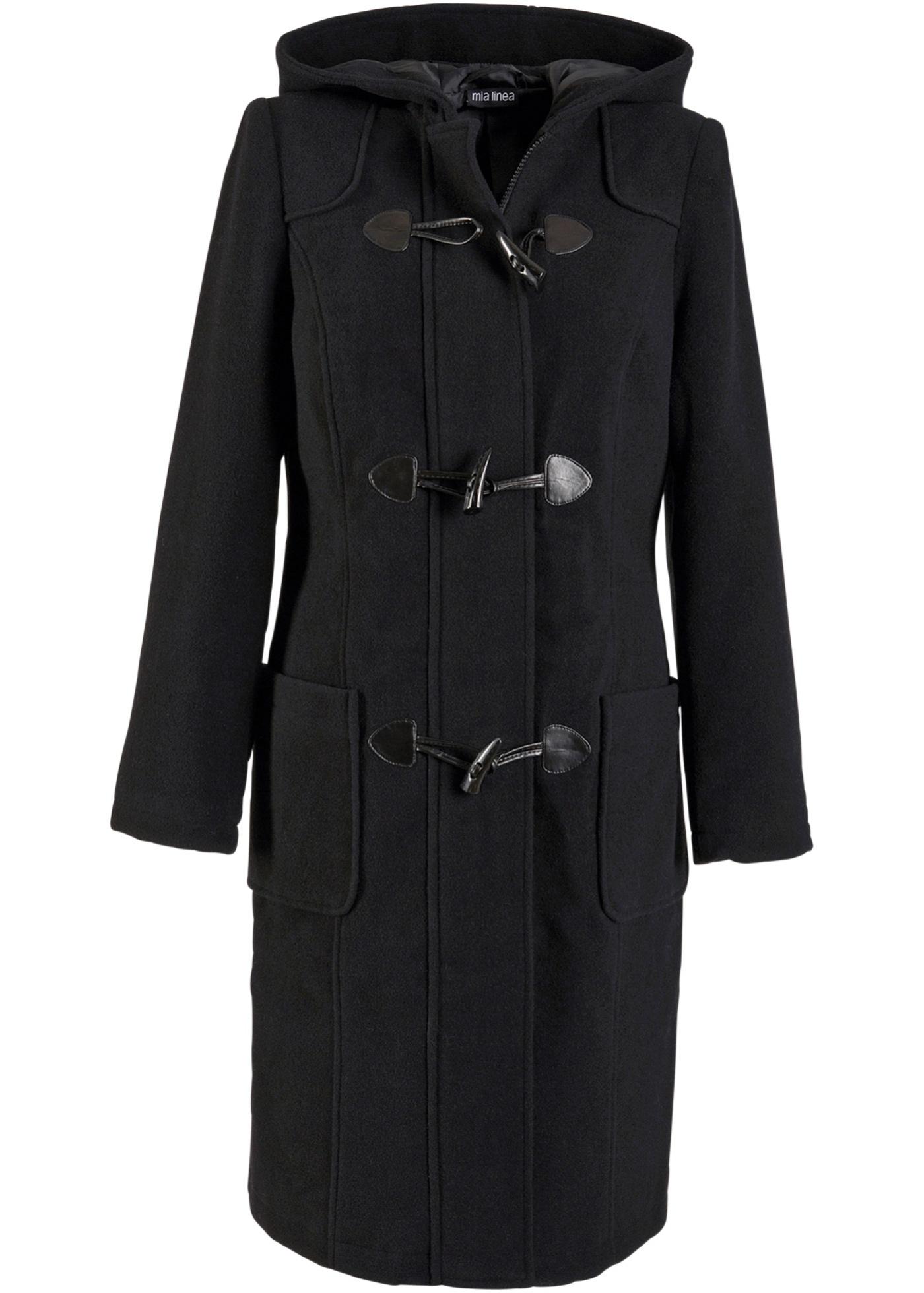 Duffle-coat noir manches longues femme - bonprix