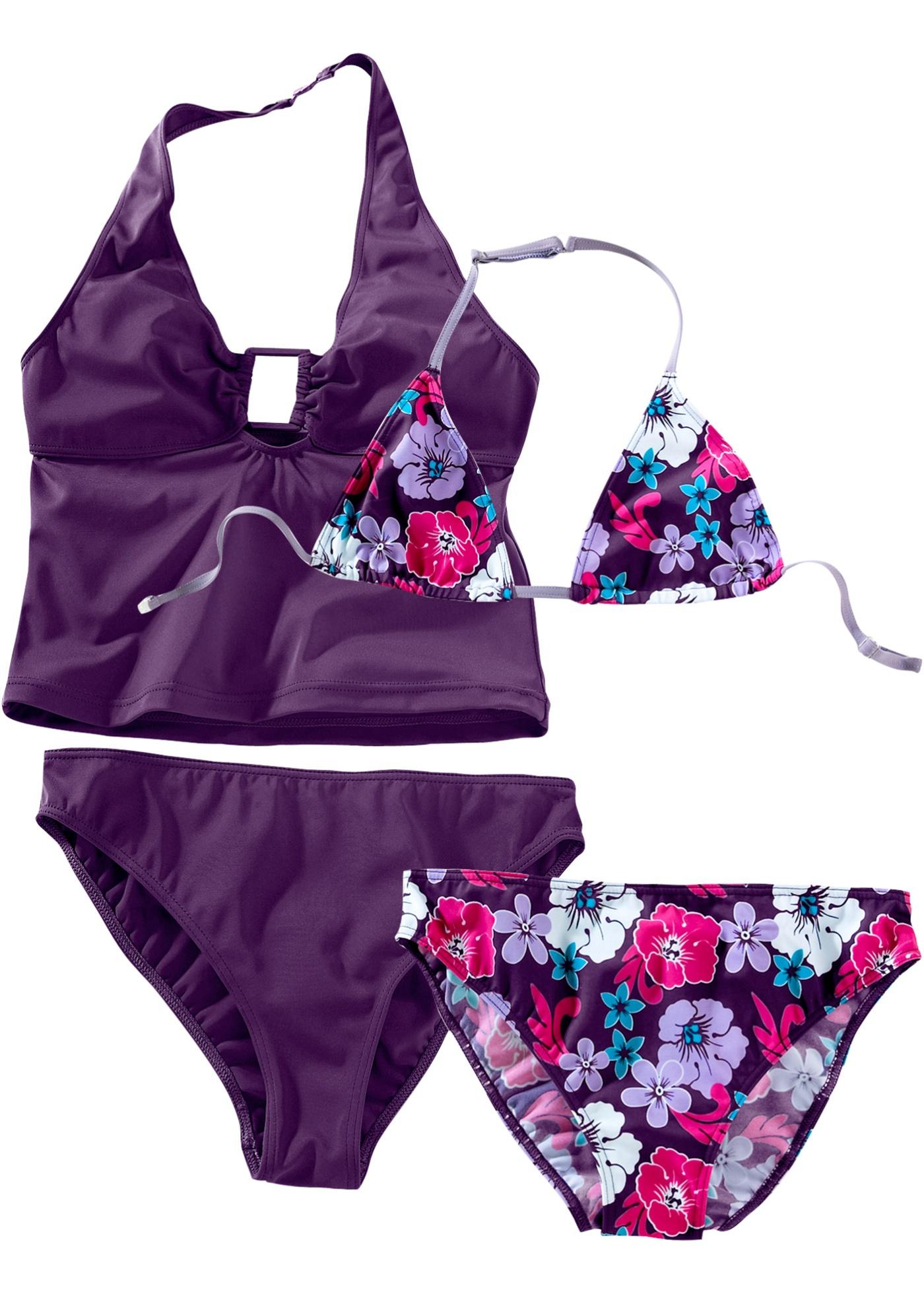 Bikini + tankini fille (Ens. 4 pces.)