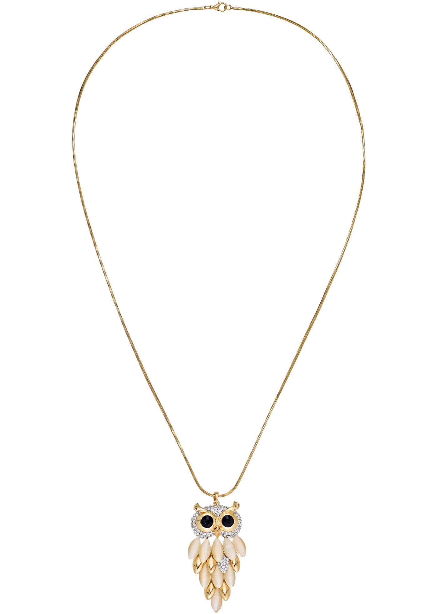 Long collier avec joli pendentif chouette ornée de strass, de pierres noires et de nacre, long. env. 80 cm + chaînette rallonge 7 cm, pendentif (Lxl) env. 5x3 cm.